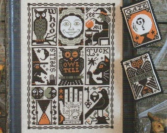 CARDSTOCK PRINTING Hocus Pocus Book No. 197 Prairie Schooler cross stitch patterns Halloween October Autumn owl witch black cat mystic raven