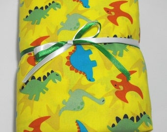 Dinosaur Fitted Sheet for Toddlers or Crib Yellow with Colorful Dinos