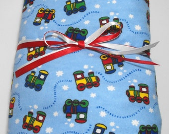 Flannel Bedding Fitted Sheet for Toddler or Babies Trains on Blue