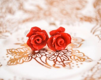 Fancy Rose Post Earrings//Red