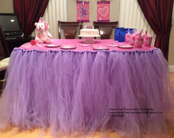 Tulle Tutu table Skirt and tulle pom poms order seperately any Color