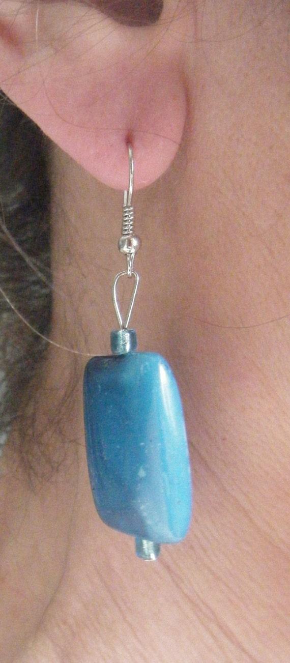 Blue Stone Hand Made Earrings ,  Bold Earrings, One of A Kind Item