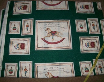 Christmas Print Fabric  Featuring Vintage Toys