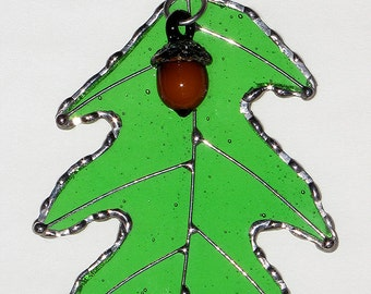 Stained Glass Suncatcher - Green Oak Leaf with Glass Acorn and Wire Accents