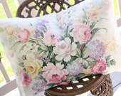 Wonderful Rare Vintage 1930s Custom Pillow with Soft Pink English Cabbage Roses & Lavender Floral