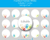 Painted Hands White 1 Inch Editable Circle Bottle Cap Images INSTANT DOWNLOAD LLHANDW01