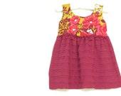 BABY GIRL DRESS / 3-6 mo / rose and mustard / spring
