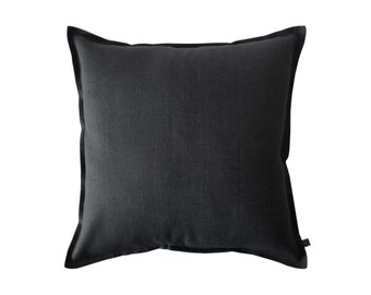 Black linen decorative pillow cover by Lovely Home Idea