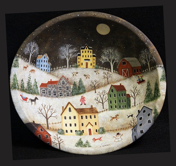 Hand Painted Folk Art Wooden Bowl With Winter Village Saltbox