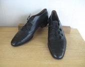 Vintage Mens Shoes 1950s Black Leather Oxfords 50s Fenestrier Mens shoes for Lefcourt  Made in France Stacked heel size 10D