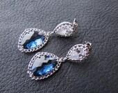 Blue Bridal dangle earrings, Montana blue pear cut stone drop sterling silver ear posts