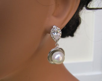 Bridal drop earrings with silver Lotus pearl, radiant cubic ziconia sterling silver studs - Spark Lotus
