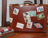 Vintage Saddle Leather // Train Case // Suitcase // Retro Travel Stickers