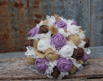 Lavender Burlap Bouquet, Burlap and Lace Wedding, Keepsake, Bridal Bouquet, rustic, country wedding, lavender fabric flowers, bride