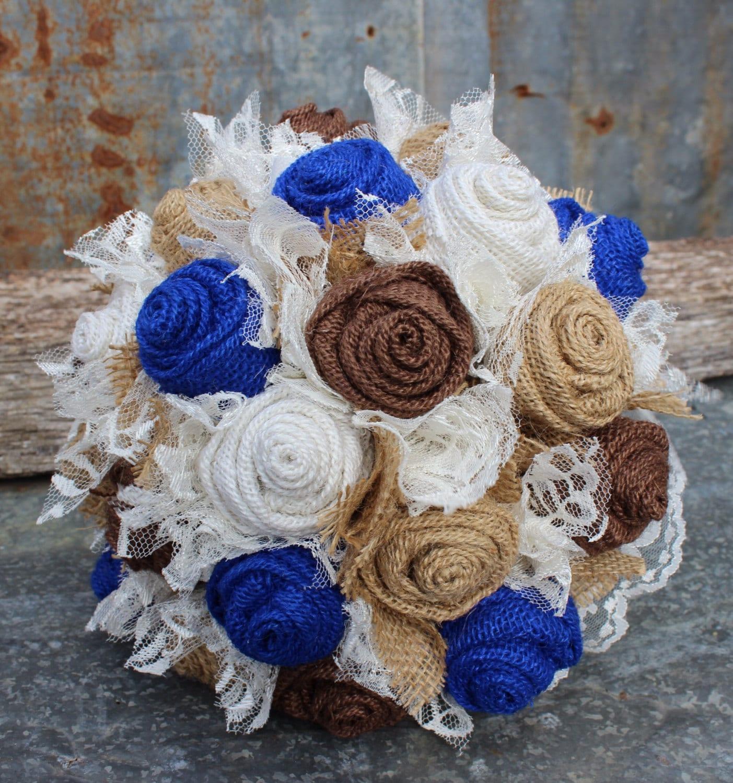 Burlap Wedding: Royal Blue Burlap And Lace Bride's Bouquets Custom Bridal