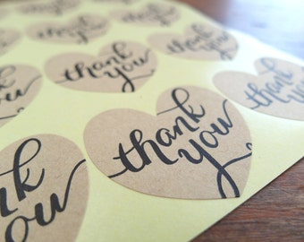 "Thank You Stickers, 1.5"" Heart Stickers, Thank You Label: Set of 12"