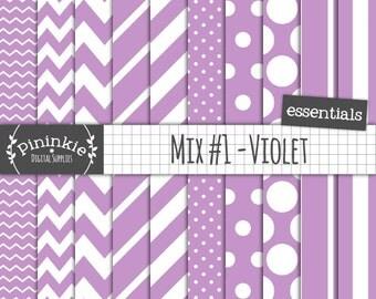 Lilac Digital Paper, Orchid Scrapbooking Paper, Lavender, Violet, Pastel Purple, Instant Download, Commercial Use