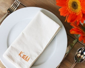 Personalized Napkins White or Natural - Add a Monogram or Initial to your Set of 4 Napkins - Great Wedding or Shower Gift