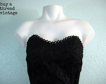 Vintage 70s Strapless  Black Lace and Taffeta Dress