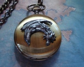 Dark Dragon REVERSIBLE Mechanical, Wind-up Pocket Watch w. Double Chain, Side 1- Etched Roman numerals,Side 2-Dark Dragon - Double open