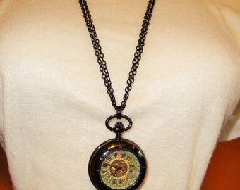 Gorgeous Black Beauty Pocket Watch Necklace black gunmetal finish Mechanical Wind-up  with double strand black chain