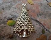 Vintage Christmas Tree Brooch Signed Tanger