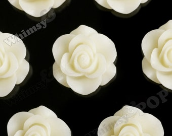 Ivory Star Flower Cabochons, Flower Cabs, Flower Flatback Embellishments, Flower Cabs, 21mm x 9mm (R7-086)