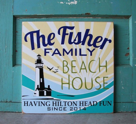 Personalized Beach House Plaques: CUSTOM Vintage BEACH HOUSE Sign With Family By VermillionDrive