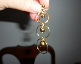 Authentic Vintage SIGNED AVON Beautiful Long Gold Earrings