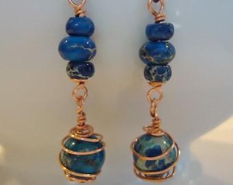 Blue Aqua Terra Copper Wire Wrap Earrings