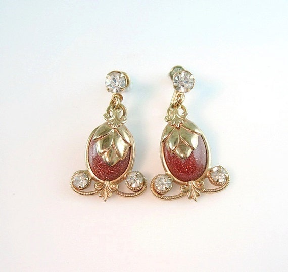 Rhinestone Earrings Goldstone Vintage Charm Dangles Gold Fill Screw Backs 1950s Victorian Revival Jewelry