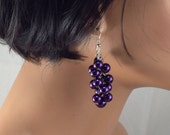 Purple cluster earrings- wedding jewelry- bridesmaid  jewelry