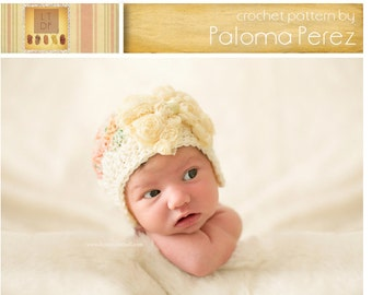 INSTANT DOWNLOAD - Crochet Baby Hat  Pattern - Flapper/bow shely hat crochet pattern - Baby hat crochet pattern