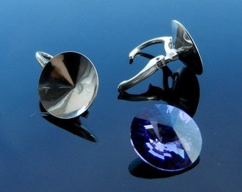 Sterling Silver Lever Back ear hooks earrings for Swarovski Crystals Rivoli 14mm 925 1 PAIR European Earwires