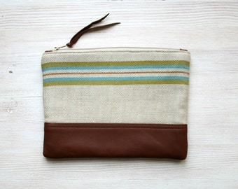 Green stripe clutch Vintage Repurposed Fabric Green Retro Leather