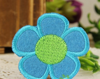 Iron on Fabric Patch - Blue Flower - FP67