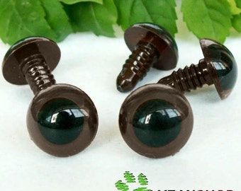 15mm Coffee Safety Eyes / Plastic Eyes - 5 Pairs