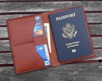 Passport Wallet - Hand Stitched Chestnut Brown Leather - Travel Wallet - by GARNY - ap