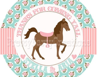SHABBY CHIC HORSE favor tags in pink and teal - you print - 3 or 2 inch
