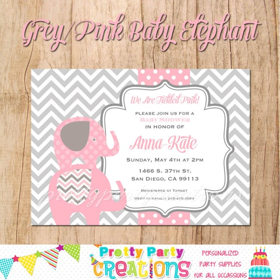 grey and pink baby elephant baby shower invitation you print