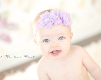 lavender tulle flower headband, baby headband, purple baby headband, lilac baby headband, girls headband, toddler headband, newborn headband
