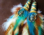 Feather Earrings- Life's a Hoot Feather Earrings- Made to Order