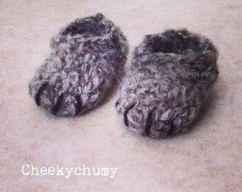 Soft mohair Crochet bear paws baby slippers, booties.Many sizes