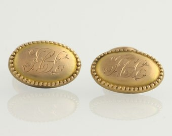 Engraved Initial Cufflinks - 10k Yellow Gold HL Letters Oval Men's Fashion w7194