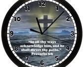 Personalized Custom Scripture Verse WALL CLOCK Cross Church