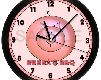 Personalized Pig Restaurant  Wall Clock