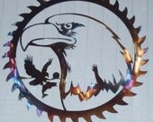 Eagle Sawblade, Heat Colored Metal Art,reserved for Marsha Manson
