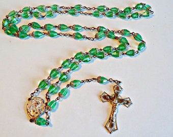 Rosary Crucifix Vintage Green Glass Beads