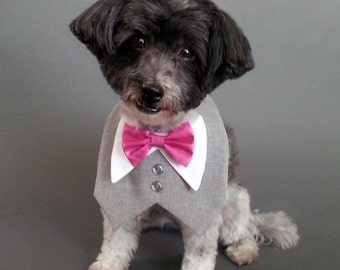 Heather Gray Dog Wedding Tuxedo, Dog Tux, Dog Tuxedo With Satin or Cotton Bow Tie
