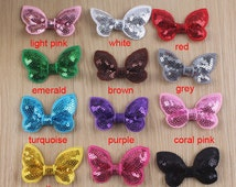 Set of 30 sequin appliques, butterfly hair bows, sequin, custom sequin for sewing craft, wholesale sequin